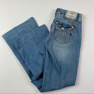 MEK Handcrafted Light Wash Bootcut Jeans 24/34